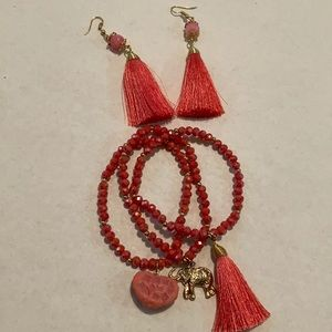 New Salmon Colored Crystal Jewelry Set